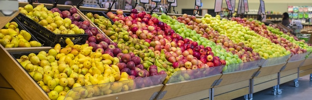 Mixed summer fruits at the grocery stands