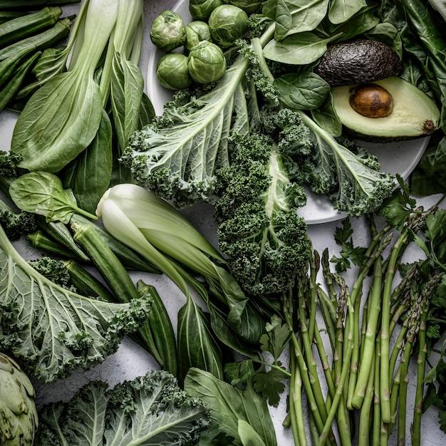 혼합 야채 평평한 평신도 채식주의 식단 음식 사진