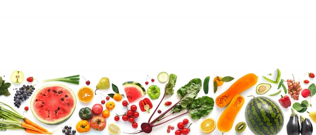 Mixed vegetables and fruits banner
