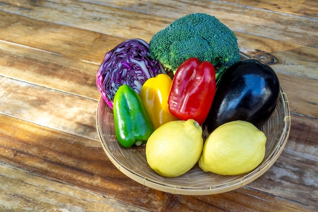 Mixed vegetables healthy diet food on wood table