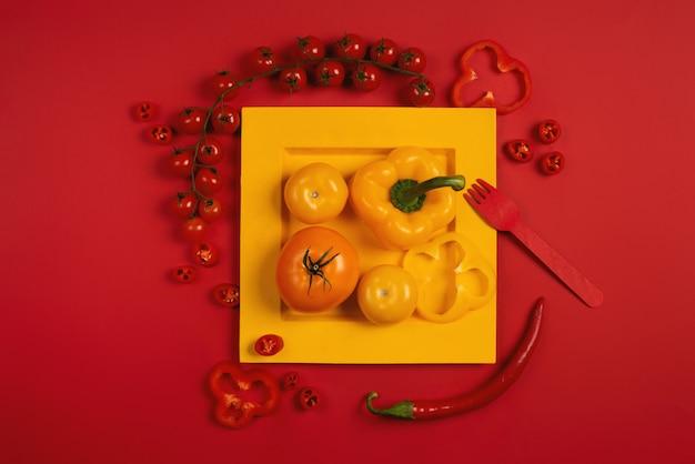 皿に野菜をミックス。スタイリッシュな構図。赤い色の背景