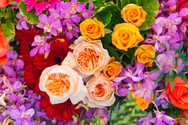 Mixed wedding flower, multi colored floral background