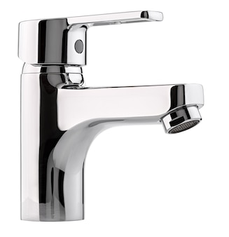 Mixer cold hot water. modern faucet  bathroom.  kitchen tap  . isolated  white surface. chrome-plated metal.