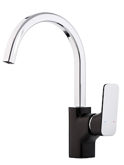 Mixer cold hot water. modern faucet  bathroom.  kitchen tap  . isolated  white surface. side view.