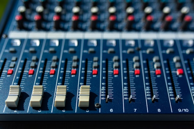 Mixer. sound equipment for large gatherings, concerts, parties.