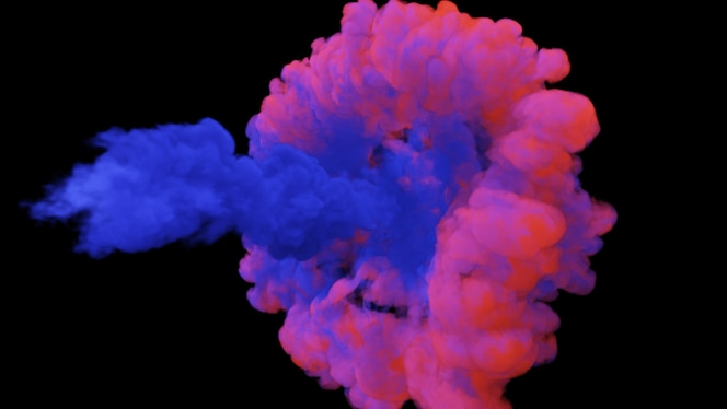 Mixing of colorful multicolored smoke and powder