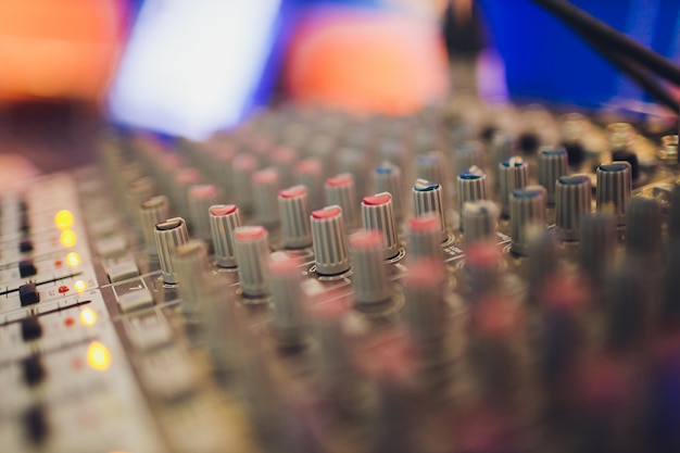 Mixing console for sound producer. music. sound. sound controller. director's remote.
