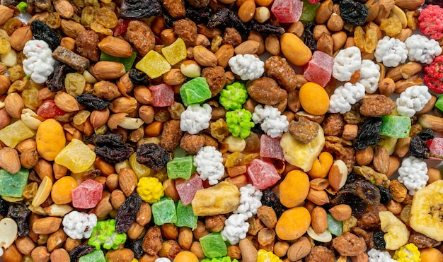 Mixture of nuts and dried fruit.