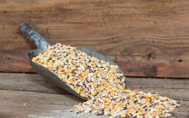 사료에서 판매되는 닭 사료용 곡물 혼합물