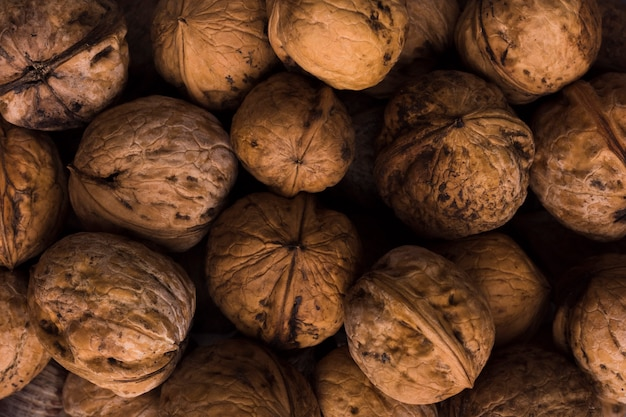 Mixture of organic walnuts with close-up