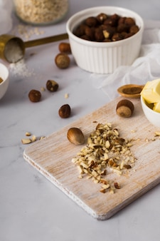 Mixture of tasty nuts on the table