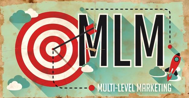 Mlm 개념. 긴 그림자가있는 평면 디자인의 오래 된 종이에 포스터.