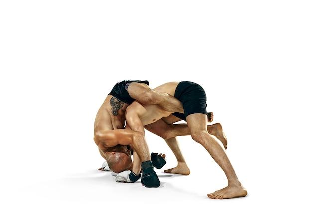 Мма. два профессиональных боксера бокс, изолированные на белом фоне студии. пара подходящих мышечных кавказских спортсменов боевых действий. концепция спорта, конкуренции, азарта и человеческих эмоций