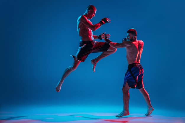 Mma. two professional fighters punching or boxing isolated on blue wall in neon