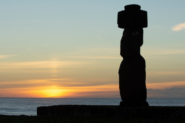Moai on sunset, tahai, easter island