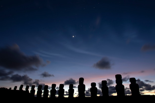 Moais on sunrise, ahu tongariki, easter island
