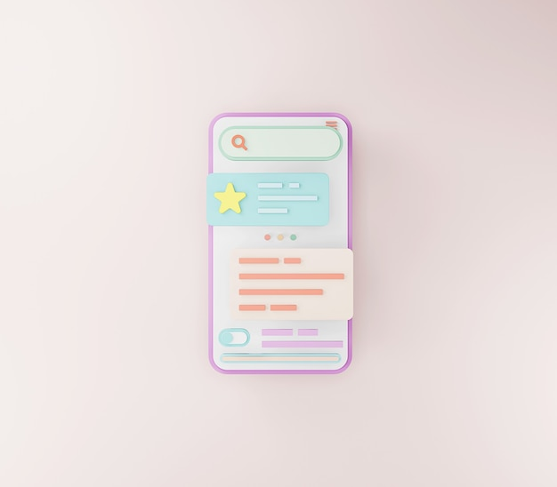 Mobile app development and mobile web design concept user interface optimization 3d rendering