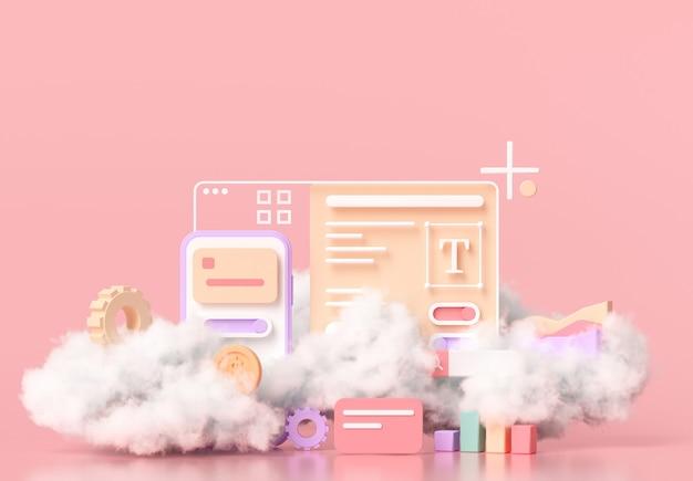 Mobile application development, web and ui-ux design concept