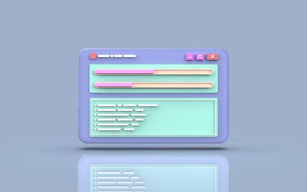 Программное обеспечение для мобильных приложений и веб-разработка, копия файла, милая иллюстрация, 3d-рендеринг