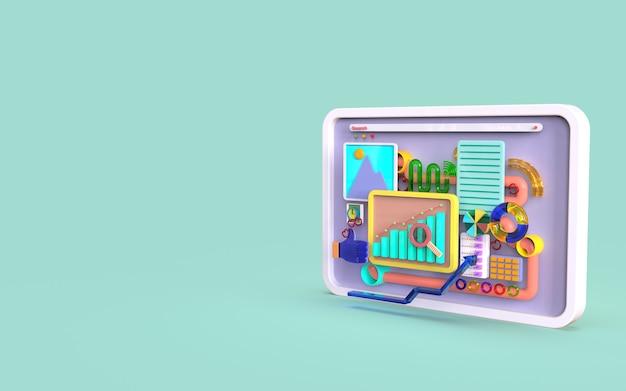 3d形状の棒グラフインフォグラフィックレンダリングを使用したモバイルアプリケーションソフトウェアとweb開発