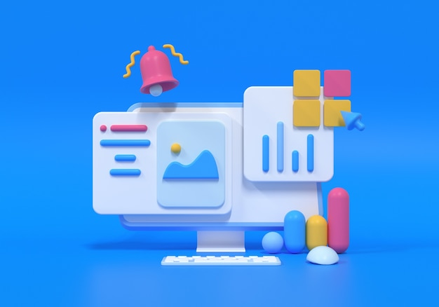 Mobile application, software and web development with 3d shapes, bar chart, an infographic on blue background. 3d rendering