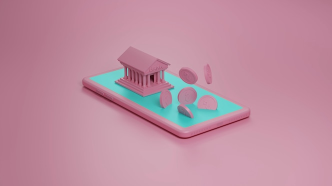 Mobile banking concept in pink wall, 3d illustration.