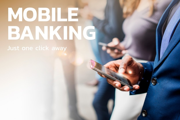 Mobile banking financial technology with people using phones background