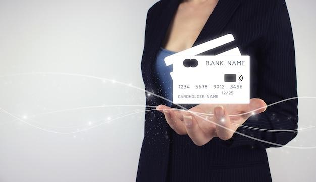 Mobile banking network, online payment concept. hand hold digital hologram