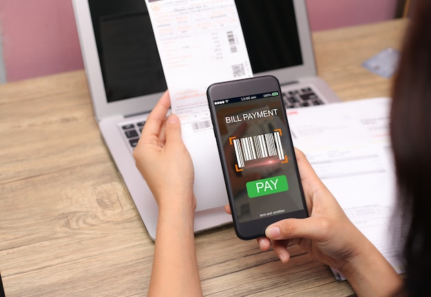 Mobile bill payment barcode scan concept