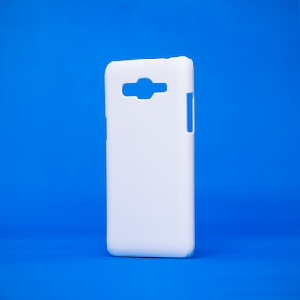 Mobile cases on vivid blue backdrops.