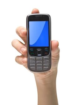 白の携帯電話