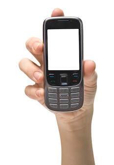 화이트에 모바일 핸드폰
