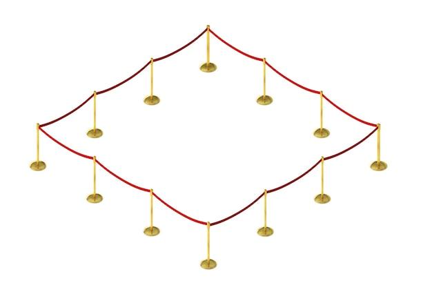 흰색으로 분리된 빨간색 벨트와 벨벳 카펫 스탠드가 있는 모바일 울타리 장벽. 아이소메트릭 3d 렌더링