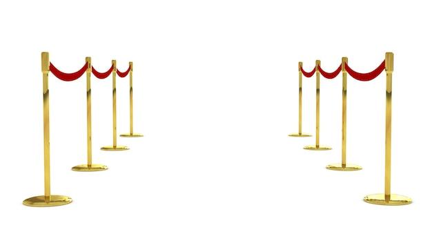 흰색으로 격리된 빨간색 벨트와 벨벳 카펫 스탠드가 있는 모바일 울타리 장벽