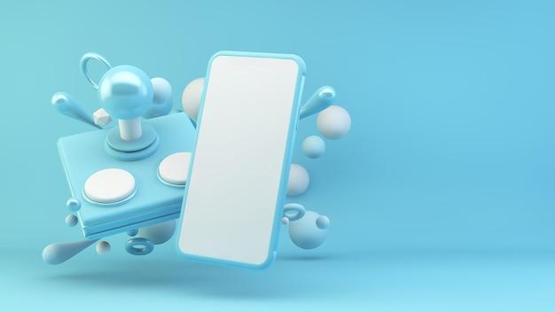 青の3dレンダリングのモバイルゲームの概念
