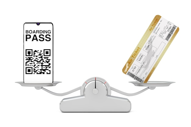 白い背景にバランカスケールの2つのゴールデンビジネスまたはファーストクラスの航空会社の搭乗券フライエアチケットを備えた搭乗券アプリケーションを備えたモバイルホーン。 3dレンダリング