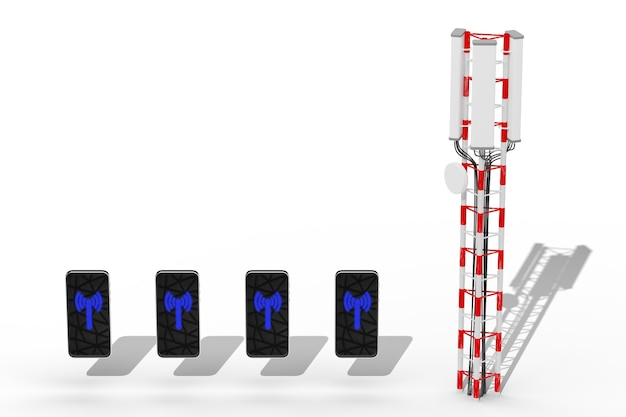 Mobile internet concept. smartphones in a row near a mobile tower. wireless internet 5g. 3d render