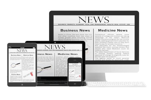 Концепция мобильных новостей. настольный компьютер, ноутбук, планшетный пк и мобильный телефон с новостями на белом фоне