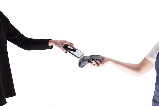Мобильный платеж изолированный белый