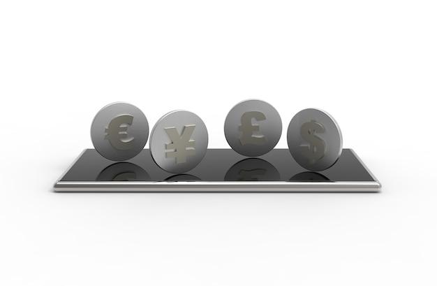Мобильный телефон и монеты, изолированные на белом фоне.
