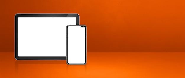 Мобильный телефон и цифровой планшетный пк на оранжевом офисном столе. горизонтальный фон баннера. 3d иллюстрации
