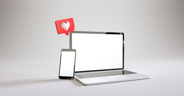 흰색 배경 d 렌더링에서 같은 알림이있는 휴대 전화 및 노트북 모형