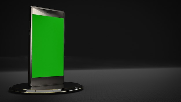 Mobile phone in black color and green screen