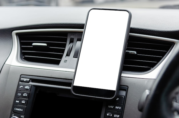 Mobile phone on the car air vent