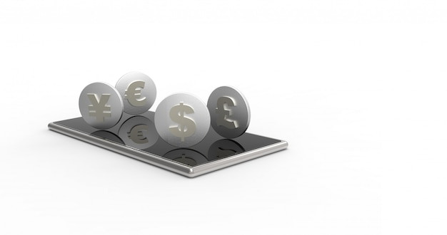 Mobile phone and coins isolated. 3d rendering.
