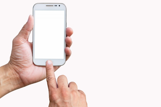 Mobile phone in hand and finger touch screen on white background