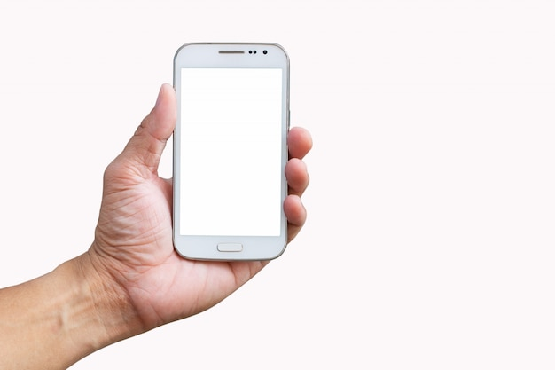 Mobile phone in hand on white background