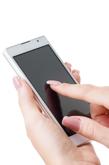여성의 손에 휴대 전화
