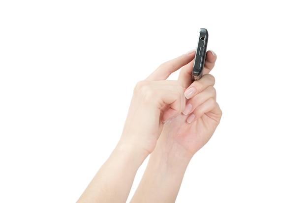 여성 손에 휴대 전화