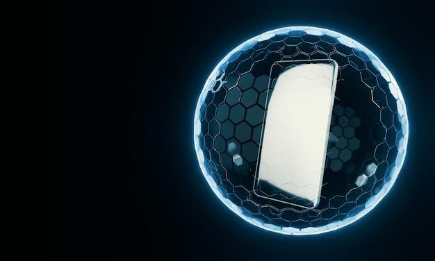 Мобильный телефон внутри нано-экрана сферической формы